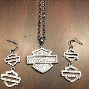Harley Davidson Necklace & Earrings Silver/Crystal
